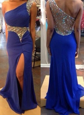 Elegant One Shoulder Royal Blue Evening Party Dress UK Split Prom Dress UK With Crystal Beadings_1