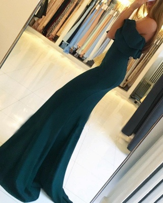Green off the shoulder prom Dress UK with split,green evening gowns_4