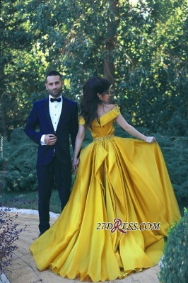 A-Line Sexy Off-the-Shoulder Gorgeous Ruffles Beadings Prom Dress UKes UK_1