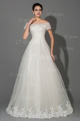Elegant Off-the-shoulder White Princess Wedding Dress Lace Floor-length_1