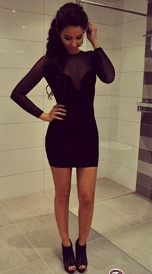 Black Summer Sheath Natural Mini Long-Sleeve Elegant Homecoming Dress UKes UK_2