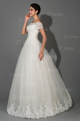 Elegant Off-the-shoulder White Princess Wedding Dress Lace Floor-length_2