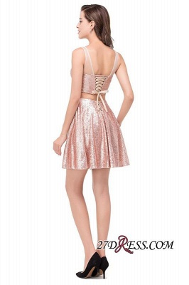 Elegant Sequined Lace-Up Two-Pieces Mini Homecoming Dress UK_6