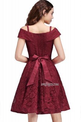 Off-the-Shoulder Lace Burgundy Simple A-Line Homecoming Dress UK_3