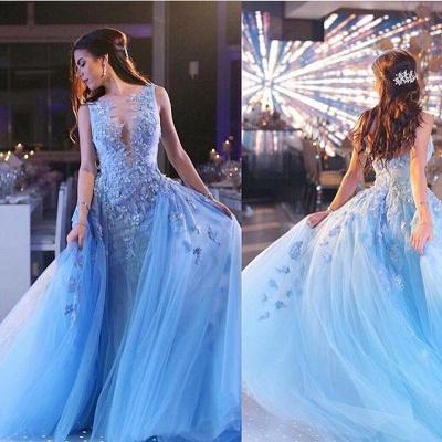 Gorgeous Sleeveless Lace Appliques Evening Dress UK Tulle Overskirt BA6876_4