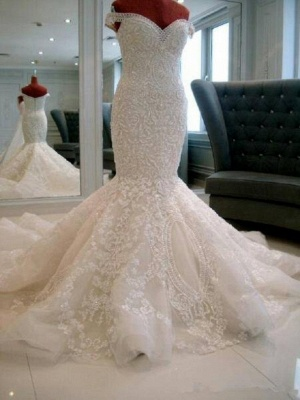 Gorgeous Off-the-shoulder Pearls Wedding Dress Sexy Mermaid Lace Long Train_2