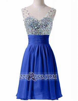 Modern Sweetheart Sleeveless Short Royal Blue Homecoming Dress UK Sheer Strap Sequins Crystals Chiffon Cocktail Gown_1