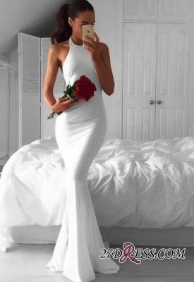 Sleeveless Elegant Mermaid Halter White Sweep-Train Prom Dress UK BA4918_2