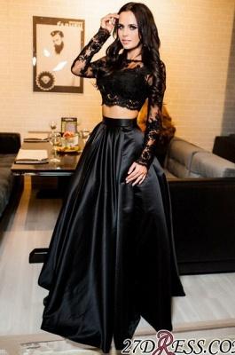 Two-Piece A-line Modern Long-Sleeve Black Lace Prom Dress UK BA7643_1