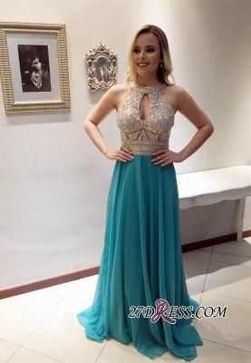 Beads Sleeveless A-line Chiffon Keyhole Zipper Gorgeous Prom Dress UK BA4821_2