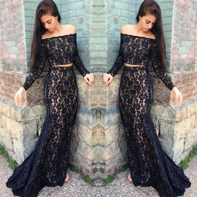 Black lace prom Dress UK, two piece evening Dress UK_3