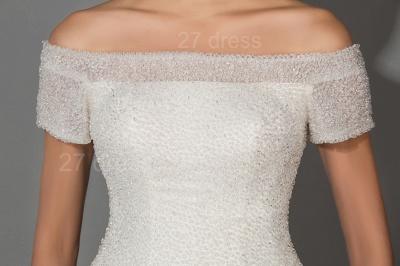 Elegant Off-the-shoulder White Princess Wedding Dress Lace Floor-length_3