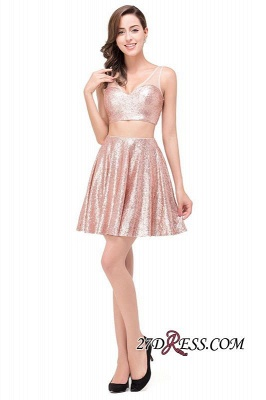 Elegant Sequined Lace-Up Two-Pieces Mini Homecoming Dress UK_7