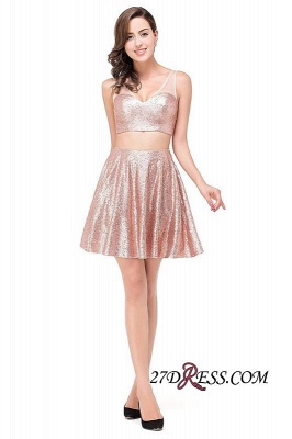 Elegant Sequined Lace-Up Two-Pieces Mini Homecoming Dress UK_3