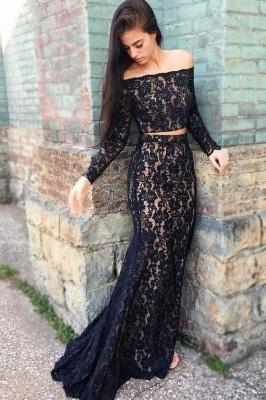Black lace prom Dress UK, two piece evening Dress UK_1