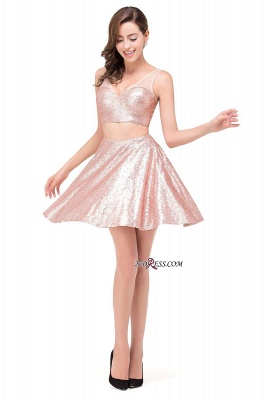 Elegant Sequined Lace-Up Two-Pieces Mini Homecoming Dress UK_4
