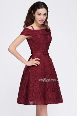Off-the-Shoulder Lace Burgundy Simple A-Line Homecoming Dress UK_4