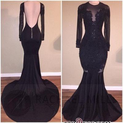 Elegant Long-Sleeves Mermaid Black Backless Appliques Prom Dress UK BA5131_1