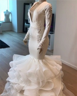 Gorgeous V-Neck Sexy Mermaid Wedding Dress | Ruffles Bridal Gowns_4