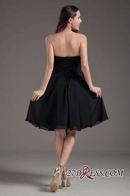 Sleeveless Black A-line Strapless Elegant Lace-up Short Bridesmaid Dress UK_5