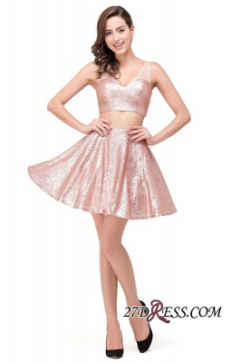 Elegant Sequined Lace-Up Two-Pieces Mini Homecoming Dress UK_1
