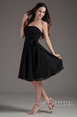 Sleeveless Black A-line Strapless Elegant Lace-up Short Bridesmaid Dress UK_6