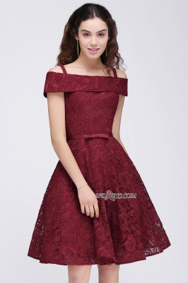 Off-the-Shoulder Lace Burgundy Simple A-Line Homecoming Dress UK_2
