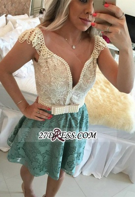 Backless Short Cap-Sleeves A-Line Beaded Lace Homecoming Dress UKes UK_4