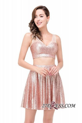 Elegant Sequined Lace-Up Two-Pieces Mini Homecoming Dress UK_5