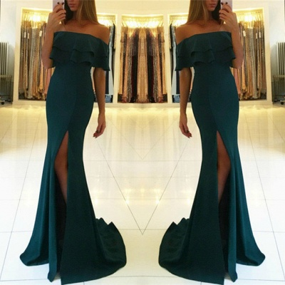 Green off the shoulder prom Dress UK with split,green evening gowns_3