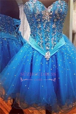 Rhinestones Sweetheart Lace-Up Sequins Organza Sparkly Sexy Blue Homecoming Dress UKes UK_1