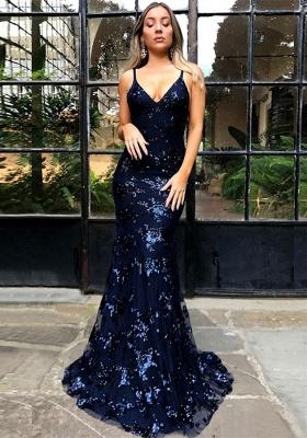 Elegant Spaghetti Strap Lace Sleeveless Evening Gown | Lace-Up Evening Dress UK BA7489_1