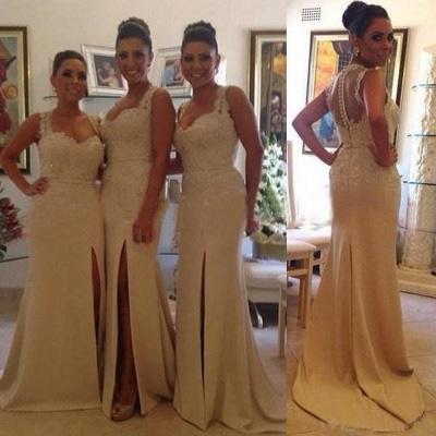 Luxury Sleeveless Lace Appliques Bridesmaid Dress UK Front Split Zipper Button Back_3