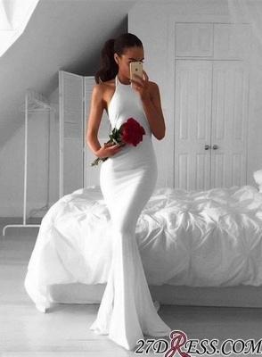 Sleeveless Elegant Mermaid Halter White Sweep-Train Prom Dress UK BA4918_1
