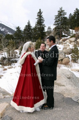 Hot Red And White Ankle Length Wedding Dresses UK With Faux Fur Cape Ivory Cloaks_1