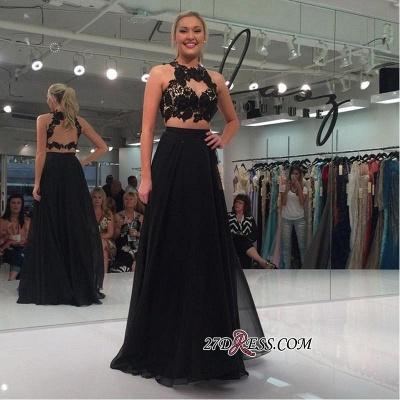 Black Sleeveless Lace-Appliques Two-Piece Elegant A-line Prom Dress UK_1