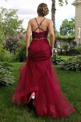 Two-Piece Burgundy Prom Dress UK | Lace Evening Gowns_4