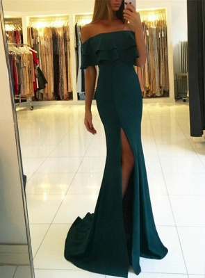 Green off the shoulder prom Dress UK with split,green evening gowns_1