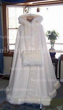 Hot Red And White Ankle Length Wedding Dresses UK With Faux Fur Cape Ivory Cloaks_3
