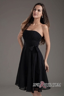 Sleeveless Black A-line Strapless Elegant Lace-up Short Bridesmaid Dress UK_4