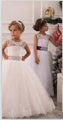 Modern Illusion Sleeveless Tulle Flower Girl Dress With Lace Appliques_1