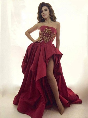 Gorgeous Strapless Evening Dress UK Long Gold Beads Long Party Dress UK With Split BA8044_1