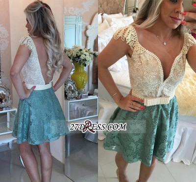 Backless Short Cap-Sleeves A-Line Beaded Lace Homecoming Dress UKes UK_2