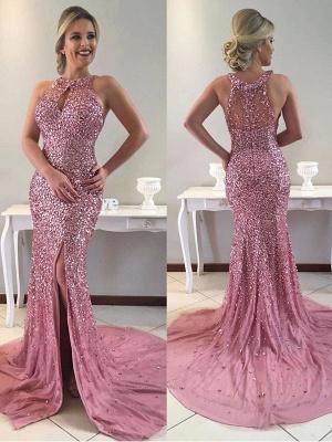 Gorgeous Halter Crystal Evening Dress UK Long Mermaid Online_1