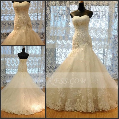 Modest Sweetheart Lace Appliques Wedding Dresses UK Sexy Mermaid Lace-Up Bridal Gowns_2