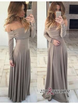 Green Off-the-shoulder Luxury Long-Sleeve Long Prom Dress UK BA7212_1