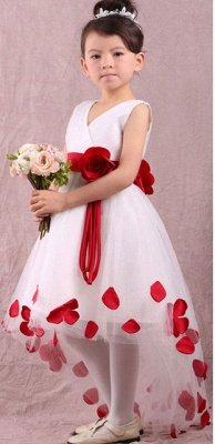 Lovely White and Red Hi-Lo Flower Girl Dress Waistband Flowers_1