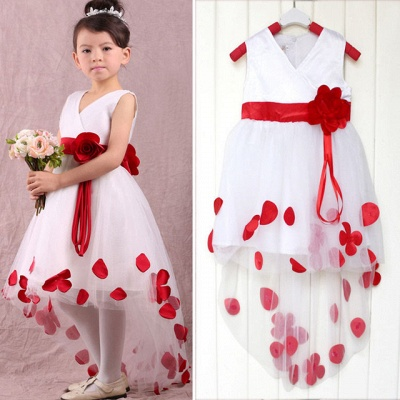 Lovely White and Red Hi-Lo Flower Girl Dress Waistband Flowers_2