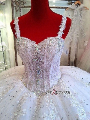 Luxurious Beads Puffy Straps New Arrival Lace Ball-Gown Ceystals Wedding Dress_2