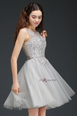 Silver Tulle Short A-Line Sleeveless Appliques Homecoming Dress UK_5
